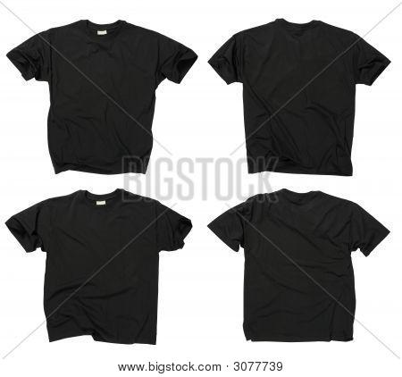Blank schwarze T-Shirts, Vorder- und Rückseite