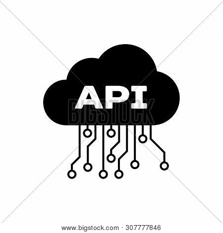 Black Cloud Api Interface Icon Isolated. Application Programming Interface Api Technology. Software