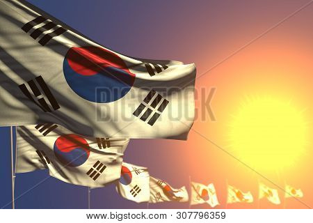Pretty Any Occasion Flag 3d Illustration  - Many Republic Of Korea (south Korea) Flags On Sunset Pla