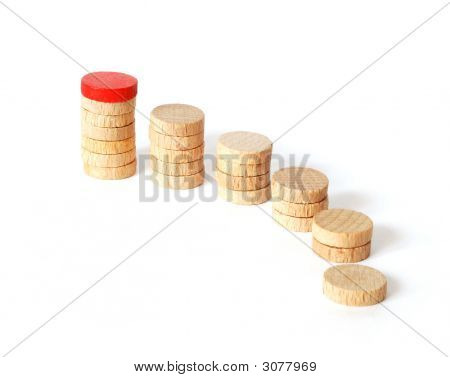 wooden jetton steps arranged as growing graph poster