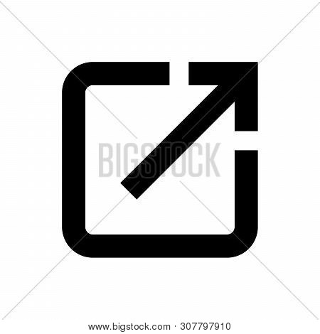 Black Open In New Window Icon Isolated On White Background. Open Another Tab Button Sign. Browser Fr