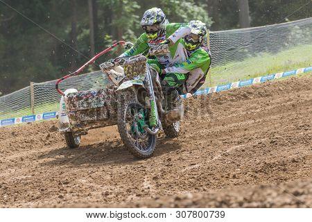 Brezova Nad Svitavou, Czech Republic - June 15, 2019: Sidecars In The Turn In International Champion