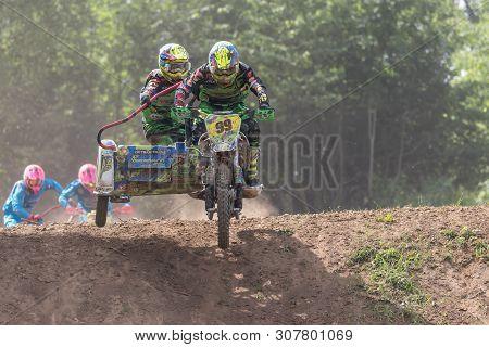 Brezova Nad Svitavou, Czech Republic - June 15, 2019: Sidecar Team Boukal In In International Champi
