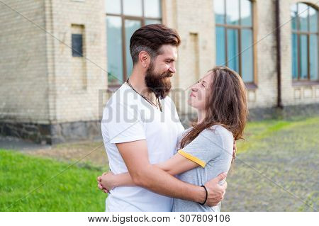 Happy Together. Couple In Love Walking Having Fun. Man Bearded Hipster And Pretty Woman In Love. Lov