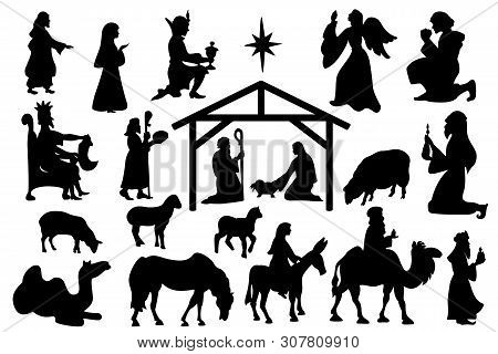 Christmas Crib Set Of Black Silhouettes. Nativity Scene Collection Famous Elements Christmas Holly N