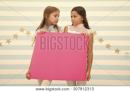 Disappointing News. Girl Hold Announcement Banner. Girls Kids Holding Paper Banner For Announcement.