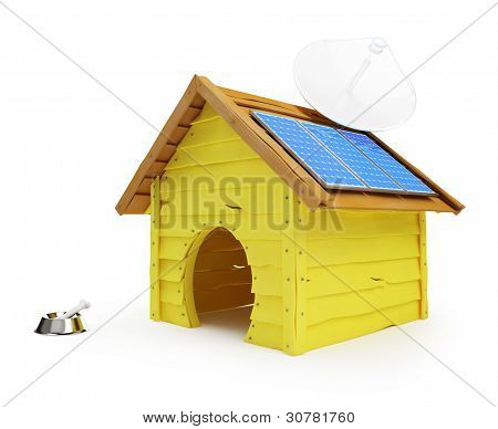 dog house with solar panels and antenna on a white background poster