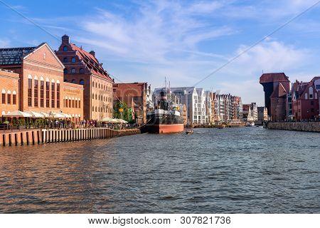 Gdansk, Poland - June 22, 2019: Motlawa River In Old Town Of Gdansk. Poland. Europe.