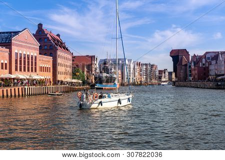 Gdansk, Poland - June 22, 2019: Yacht On The Motława River In The Old City Of Gdansk