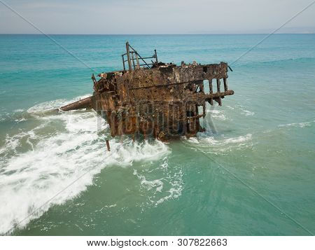 Old Rusty Ship Wreck In The Middle Of The Sea, Next To Limmasol, Ciprus