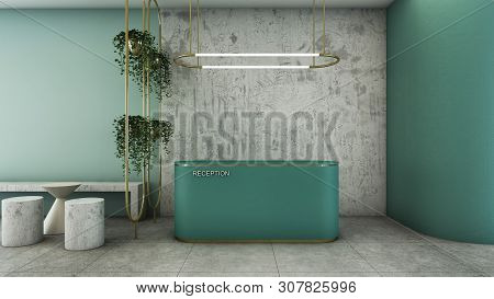 Reception Shop Design Modern & Loft Green Counter,gold Metal Light Pendant, Wall Green Pastel Color,