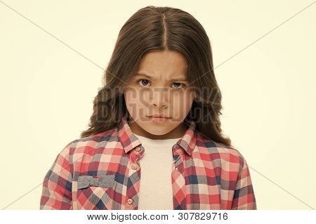 Little Girl Raise Eyebrow Isolated On White. Confident Child With Long Brunette Hair. Are You Seriou
