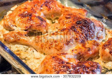 Oven Roasted Chicken Legs Garlic Mayonnaise Yogurt Sauce.
