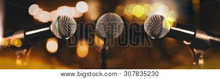 Microphones.live Music And Blurred Stage Lights. Music Background.musical Design