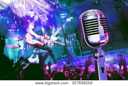 Live Music And Concert. Guitarist And Music Band Background. Night Entertainment And Festival Events