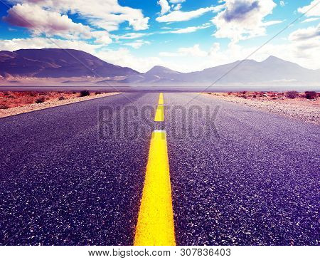 Car Travelling And Scenic Desert Road.adventures And Destination Concept.country Road Background And