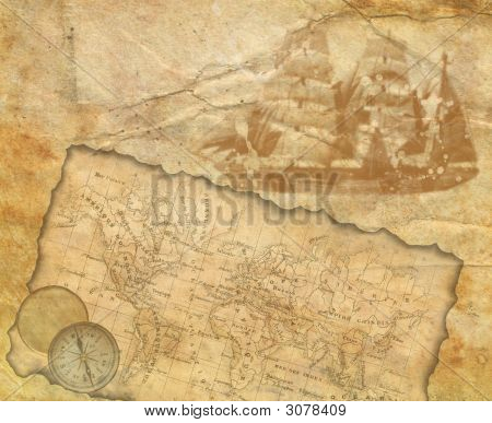 1875 19th Ancient map of the world. Compass poster