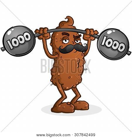 A Tough And Jolly Poop Vector Cartoon Character Lifting A Heavy Barbell Sporting A Handlebar Mustach