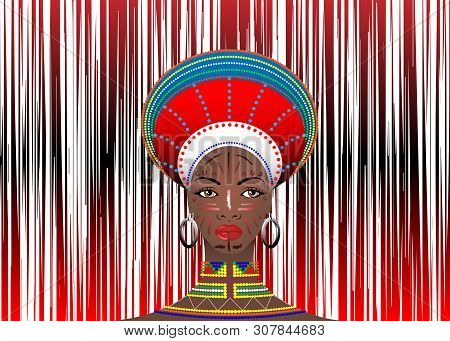 African Tribe Clothes Female Zulu Aboriginal Portrait Of Cute South African Woman Of Bantu Nation. T