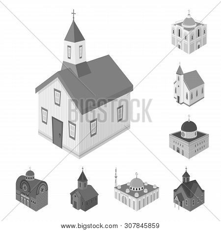 Isolated Object Of Landmark And Clergy Sign. Set Of Landmark And Religion Stock Symbol For Web.