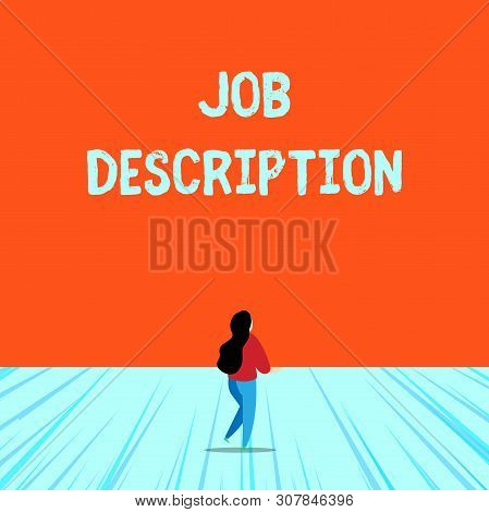 Conceptual hand writing showing Job Description. Business photo text a formal account of an employee s is responsibilities Young long hair woman holding blank square announcement design. poster