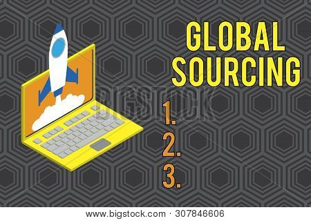 Conceptual hand writing showing Global Sourcing. Business photo text practice of sourcing from the global market for goods Rocket launching clouds laptop Startup project growing SEO. poster