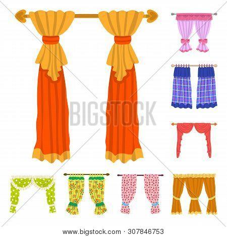 Vector Design Of Lambrequin And Drapery Symbol. Set Of Lambrequin And Decoration Stock Vector Illust