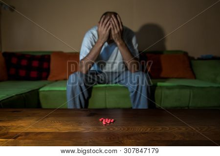 Overdose Man, Depressed Man Suffering From Suicidal Depression Want To Commit Suicide By Taking Stro