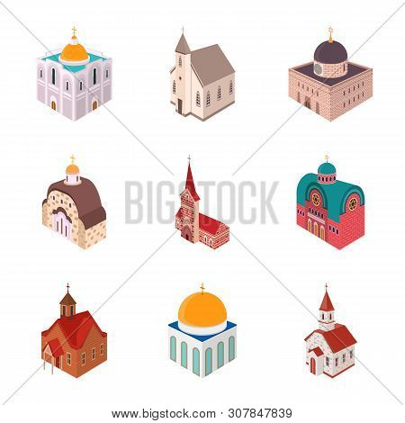 Isolated Object Of Architecture And Building Sign. Set Of Architecture And Clergy Stock Vector Illus