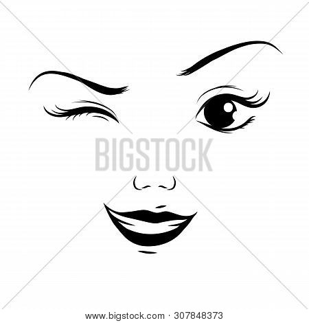 Winking With One Eye, Cartoon Face, Vector. Winking With One Eye, Cartoon Face