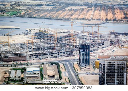 Aerial Shot Of A Construction Site, Tools, Crane - A New Mall Under Construction - Al Reem Mall - Ab