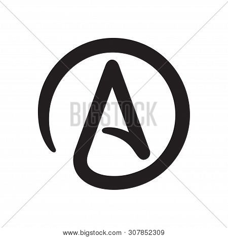 Symbol Of Atheism: Letter A In Circle. Simple Black And White Atheist Sign Icon. Isolated Vector Cli