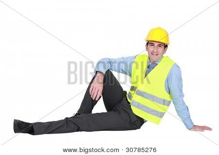 Engineer sitting on the ground