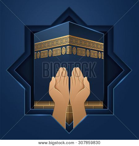 Kaaba Place With Hands Of Prayer. Mecca Holy Stone And Palms Of Religious Man. Ka Hab Background For