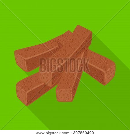 Vector Illustration Of Croutons And Bread Sign. Set Of Croutons And Crackers Vector Icon For Stock.