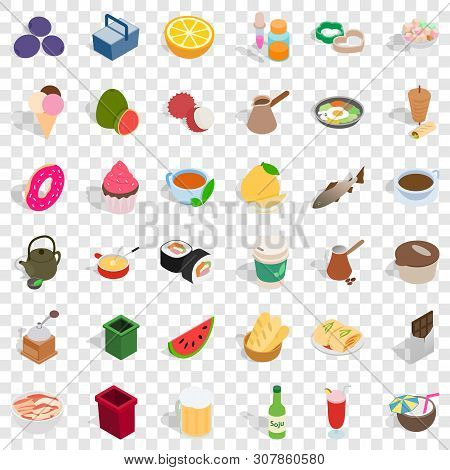 Delicatessen Icons Set. Isometric Style Of 36 Delicatessen Vector Icons For Web For Any Design
