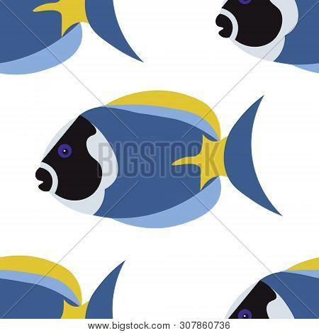 Seamless Background, Exotic Fish Paracanthurus Hepatus, Surgeonfish. In Minimalist Style. Cartoon Fl