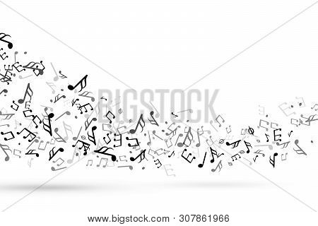 Music Notes Swirl. Wave With Notes Musical Stave Key Harmony, Symphony Melody Flowing Music Staff Tr