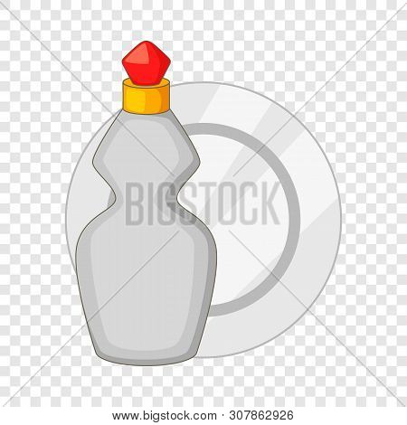 Dishwashing Liquid Bottle And Plate Icon. Cartoon Illustration Of Dishwashing Liquid Bottle And Plat