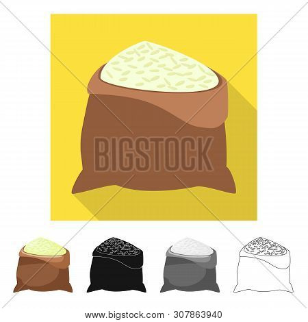 Isolated Object Of Bag And Rice Symbol. Set Of Bag And Wholesale Vector Icon For Stock.