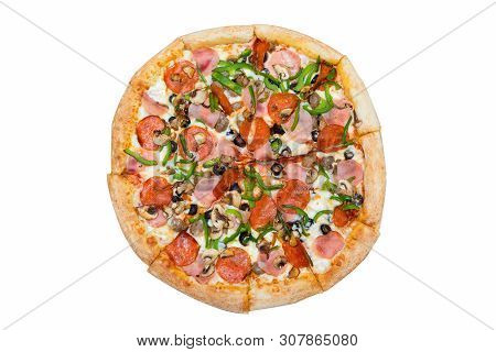 Italian Cuisine. Fresh Tasty Pizza. Salami, Mushrooms, Paprika, Ham, Olives Pizza Isolated On White