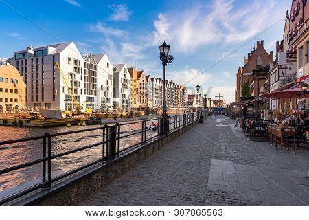 Gdansk, Poland - June 22, 2019: Dlugie Pobrzeze Street In Historic Gdansk - Very Popular Touristic D