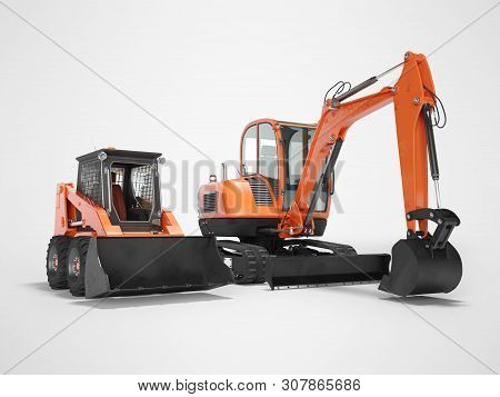Orange Mini Excavator Tracked On Rubber Run And Mini Loader On Wheels Rendering 3d Render On Gray Ba
