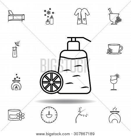Fragrance Bottle Of Citric Fruit Outline Icon. Detailed Set Of Spa And Relax Illustrations Icon. Can