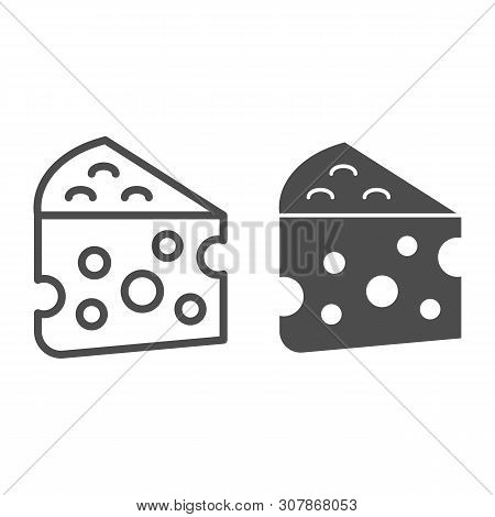 Cheese Line And Glyph Icon. Milk Food Vector Illustration Isolated On White. Cheddar Outline Style D
