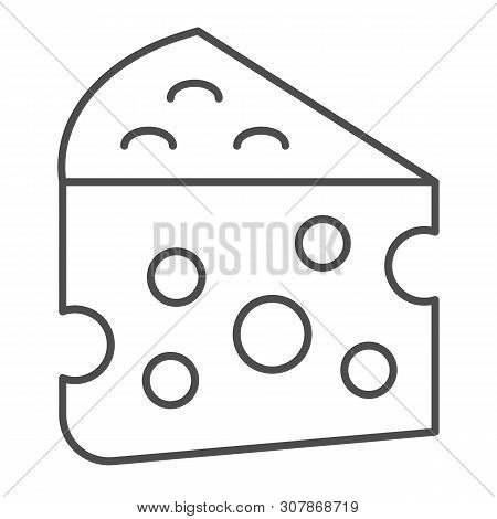 Cheese Thin Line Icon. Milk Food Vector Illustration Isolated On White. Cheddar Outline Style Design