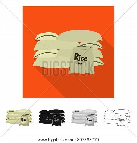 Vector Design Of Bag And Rice Icon. Set Of Bag And Wholesale Stock Vector Illustration.