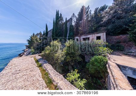 Abandoned Ruined Lost Place Port With Funicular To Bauxite Mine In Town Cere Near Rabac In Istria, C