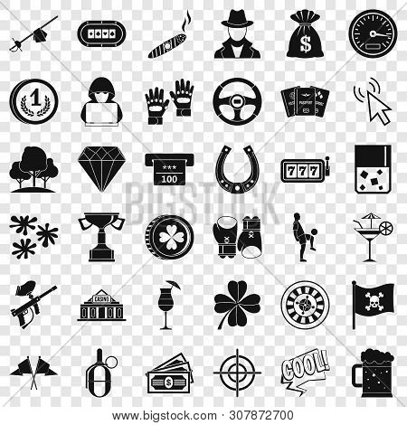 Roulette Icons Set. Simple Style Of 36 Roulette Vector Icons For Web For Any Design