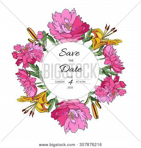Floral Save The Date Card With Fuchsia Peonies And Yellow Lily.
